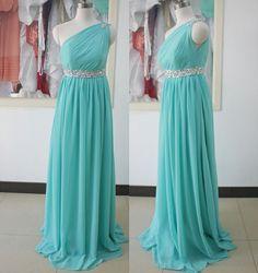 Tiffany Blue Bridesmaid DressesOne Shoulder Long by ASDRESS