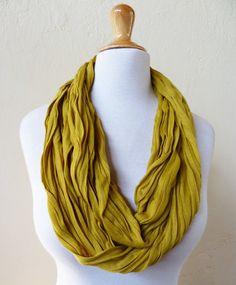 Infinity loop scarf  MUSTARD / LEMONGRASS  by OriginalDesignsByAR, $16.00