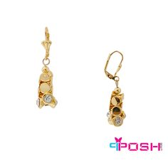POSH - Arabella - Earrings - Fashion Earrings - Gold tone - Interlocking metal and clear stone beads - Lever backing - Dimensions: cm length cm length POSH by FERI - Passion for Fashion - Luxury fashion jewelry for the designer in you. Monogram Earrings, Gold Earrings, Jewellery Earrings, Fashion Earrings, Fashion Jewelry, Ladies Boutique, Stone Beads, Necklace Set, Passion For Fashion