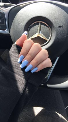 long blue tapered square nails