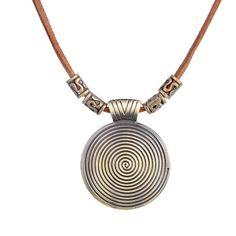 bronze solar disk pendant brown genuine leather necklace
