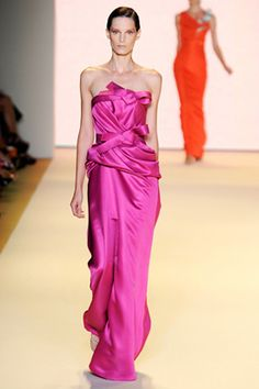 carolina herrera 2011 collection - beautiful fuschia color. interesting pattern draping with 옷고름 (breast-ties)