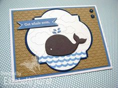 Get Whale Soon--Colors:  Not Quite Navy  Crumb Cake  Marine Mist  Basic Gray    Stamp Set - Oh, Whale!    Tools:  Big Shot embossing folders - Square Lattice & Cloudy Day  Sizzlit Clearlit Happy Whale  Bitty Banners Framelit & Window Frames Framelit  Mini Brads & Paper Piercer  White gel pen