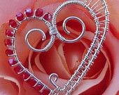 beaded twisted wire heart - love it!
