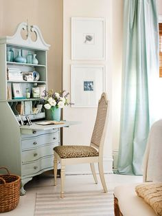 Favorite Ways To Use A Secretary Desk - Emily A. Clark. Love the color and styling here.