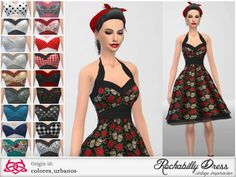 The Sims Resource: Rockabilly Dress v2 by Colores Urbanos • Sims 4 Downloads