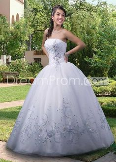 Embroider Exotic Ball Gown Sweetheart Floor-length Organza White Quinceanera/Sweet 16 Dresses Princess