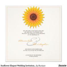 Sunflower Elegant Wedding Invitation Announcement #Sunflower #Elegant #Wedding #Invitation #Announcement