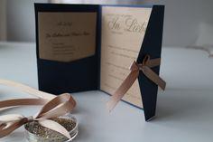 Hochzeit, Einladung, handgemacht, Papeterie, handgemacht, navi, blau