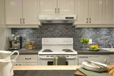 Love the backsplash - Income Property - Tiffany & Jamie Tall Kitchen Cabinets, Kitchen Sink Faucets, Kitchen Tile, Kitchen Reno, Kitchen Dining, Huge Kitchen, Basement Kitchen, Basement Ideas, Income Property
