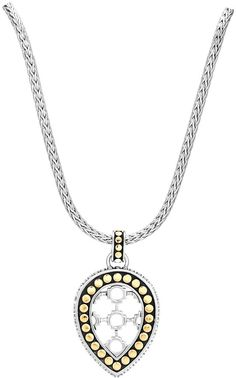 John Hardy Dot Silver & 18k Teardrop Pendant Necklace