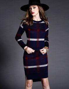 Set đầm len caro màu xanh đen - B2770