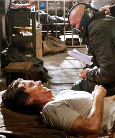Tom Hardy as Bane & Christian Bale - The Dark Knight Rises (2012) behind the scenes - TH0063