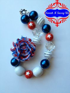 Fourth of July Shabby Chic Chunky Beaded Necklace by SweetnSassyUs, $15.00