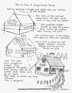 How to Draw Worksheets for The Young Artist: How To Draw A Gingerbread House for Christmas, Worksheet
