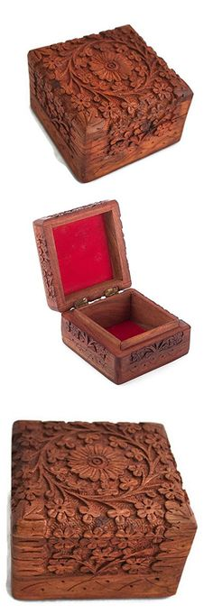 Wooden Jewelry Box 4x4 Inch- Novelty Item, Unique Artisan Traditional Hand Carved Wood Jewelry Box