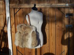 Large Real Coyote Fur Bag Handmade in USA by DawnONeillDesigns