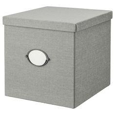 IKEA - KVARNVIK クヴァルンヴィーク, 収納ボックス ふた付き, グレー, 書類やメディアアクセサリーから、靴や衣類まで、いろいろなものにぴったりなサイズ KALLAX/カラックス シェルフにぴったり収まります ラベルホルダー付きなので、分類や探し物が簡単です