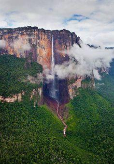 Tallest waterfall in the world (980 m). Salto Angel, Venezuela.