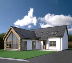 Spey - Scotframe Timber Frame Homes Modern Bungalow Exterior, Modern Bungalow House, Bungalow House Plans, Modern Farmhouse Exterior, Country Farmhouse, Farmhouse Decor, Dormer House, Dormer Bungalow, Bungalow Extensions