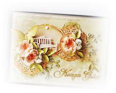 Ślubna księga gości wykonana na bazie papierów K&Company z kolekcji Maison.   Całość dopełniają kolorowe dodatki z kolekcji Madeline.   Obi...