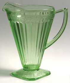 "Jeannette Glass ""Adam"" Pattern 32-Ounce Pitcher in Green (1932-1934) Depression Glass"