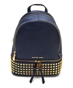 46ed181a860 Love this Michael Kors Navy Studded Rhea Leather Backpack by Michael Kors  on  zulily!