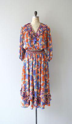 Diane Freis silk dress  bright floral 70s dress  by DearGolden