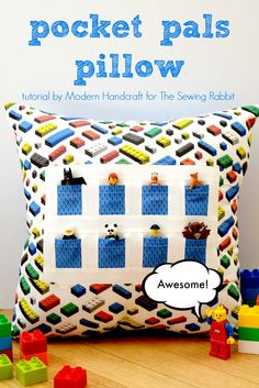 Sew a Pocket Pals pillow that holds small toys with a tutorial from Modern Handcraft on The Sewing Rabbit.