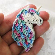 Unicorn brooch, polymer clay unicorn, horse brooch, quilling unicorn by Liskaflower on Etsy