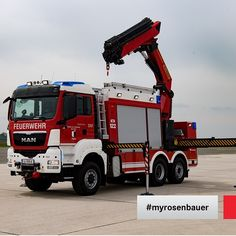 Hydraulic rescue equipment, emergency power equipment, loading crane: the heavy rescue vehicle was designed for rescue operations and has recently gone into service for the Volunteer Fire Department of the city of Traun.  A lot of importance was placed on manoeuvrability, since despite its size the SRF-K must always be able to move quickly and freely everywhere. #myrosenbauer #firefighting #feuerwehr #vehicle