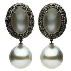 15-16mm Tahitian Pearl Moonstone Diamond Gold Earrings   From a unique collection of vintage more earrings at https://www.1stdibs.com/jewelry/earrings/more-earrings/