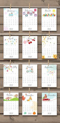 PRINTABLE 2017 calendar 2017 Wall calendar Desk calendar 2017