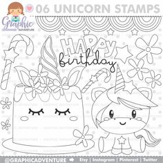 Unicorn Stamp COMMERCIAL USE Digi Stamp Digital Image