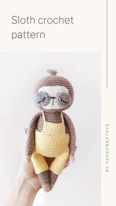Crochet Sloth, Crochet Deer, Crochet Animals, Crochet Bear Patterns, Amigurumi Patterns, Stuffed Animal Patterns, Handmade Toys, Sloths, Christmas Ornament