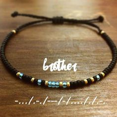 Brother + Morse + Code + Bracelet ++ Mens + Bracelet ++ Mens + Gift + gift for brother DIY Gift Ideas: 29 Handmade Gifts - Geschenk Handmade Bracelets, Bracelets For Men, Best Friend Bracelets, Handmade Gifts, Bracelet Men, Beaded Jewelry, Beaded Bracelets, Diamond Bracelets, Silver Bracelets