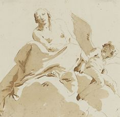 Giovanni Battista Tiepolo, PSYCHE HOLDING THE ARM OF A BLIND CUPID, pen and brown ink and brown wash over black chalk, 9 1/8 by 9 1/4 in  232 by 235 mm