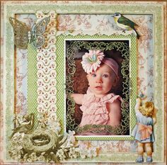 A layout by @Nancy Wethington with our new Little Darlings collection! Just PRECIOUS! #graphic45 #littledarlings #layout