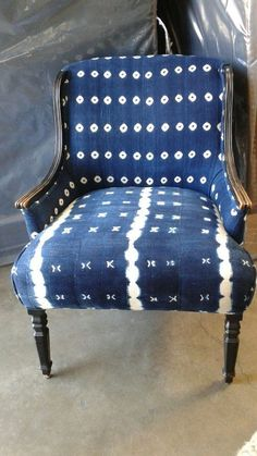 African indigo Shibori fabric on vintage chair