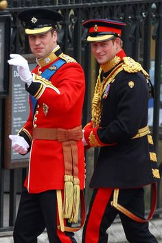 Prince Harry and Prince William of the UK on William's wedding day to Kate Middleton