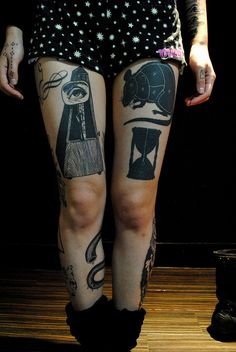 Metronome, rat and hour glass tattoos - strong black work