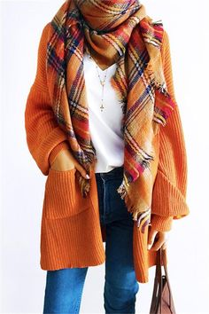 One Size Casual Orange Cardigan – hebedress.com Sweater Cardigan 0f038fd8b