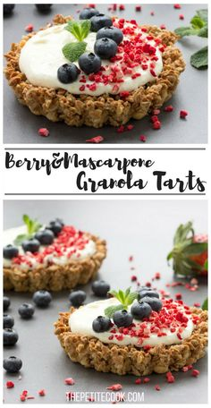 These easy Berry and Mascarpone Granola Tarts make a quick and satisfying dessert – Ready in just 30 min, it's a perfect weekend treat and just as great to share with your loved ones on Valentine's Day! Recipe by The Petite Cook - www.thepetitecook.com
