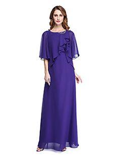 2017+Lanting+Bride®+Sheath+/+Column+Mother+of+the+Bride+Dress+-+Open+Back+Elegant+Floor-length+Half+Sleeve+Chiffon+with+Beading+–+USD+$+285.00