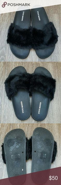 Steve Madden black softey fur slide sandles Steve Madden black softey fur slide sandles size 9 worn once the only sign of wear is on sole of the sandles everything else is in perfect conditon Pamper your feet with SOFTEY, our playfully plush twist on the spa slide!  Perfect footwear for taking leisurely strolls around the neighborhood. Summer and spring weather they go with just about everything  Faux fur upper Man-made lining Man-made sole 1 inch platform NO TRADES Steve Madden Shoes…