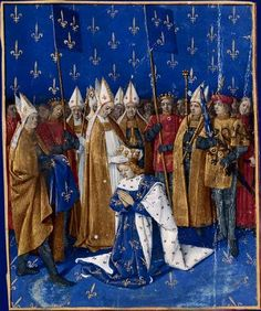 Coronation of Charles VI of France depicted by Jean Fouquet in the mid-15th century Grandes Chroniques de France