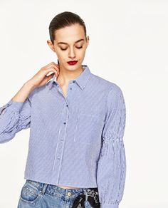 Image 2 of CROPPED STRIPED SHIRT from Zara