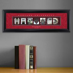 Harvard - College Art Personalized    Collegiate framed architecture art spells out the name of each college represented in letters created from actual campus buildings, structures and other memorable images making this a unique gift sure to bring back great college memories! Over 100 Colleges & Universities to Choose From.  Personalized with full name and graduation year, phrase or other.  Perfect gift for graduates, alumni, reunions...also makes a great business gift!