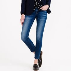 Crew for the Toothpick Japanese selvedge jean in hulton wash for Women. Find the best selection of Women Pants available in-stores and online. Blusas Crop Top, Crop Top Shirts, Philly Style, Denim Jeans, Skinny Jeans, Blue Jeans, J Crew Jeans, Fall Capsule Wardrobe, Winter Wardrobe