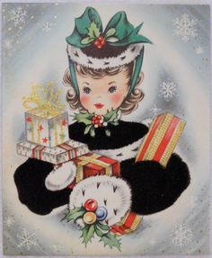 677 50s Pretty Girl IN Velvet Coat W Gifts Vintage Christmas Greeting Card | eBay
